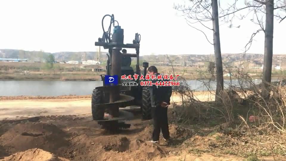 江苏挖坑机客户试机视频